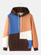 Mens Patchwork Colorblock Loose Fit Casual Drawstring Hoodies With Muff Pocket - Brown