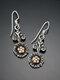 Vintage Two-Tone Sun Flower Women Pendant Earrings - Antique Silver
