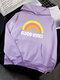 Rainbow Letters Printed Long Sleeve Pocket Hoodie For Women - Purple
