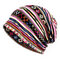 Cotton Geometric Patterns Cap Casual Beanie Hats Outdoor Sun Cap Scarf Dual Use For Woman - Pink