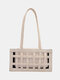 Mujer 2PCS Hollow Out Solid Satchel Shoulder Bolsa - Blanco