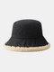 Women Lamb Wool Casual Thicken Warm Winter Thermal Hat Bucket Hat - Black