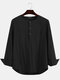 Plus Size Mens Solid Cotton Casual Long Sleeve Henley Shirts With Pocket - Black