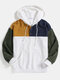 Mens Patchwork Kangaroo Pocket Button Corduroy Hoodies - White