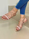 Women Brief Solid Color Knotted Design Opened Toe Gladiator Sandals - Pink