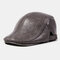 Collrown Men Genuine Leather Retro Casual Solid Keep Warm Winter Forward Hat Beret Hat - Gray