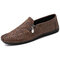 Men Retro Microfiber Leather Side Zipper Stitching Casual Driving Shoes - Brown