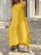 Plus Size Solid O-neck Pocket Casual Tee Dress - Yellow