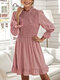 Solid O-neck Fungus Long Sleeve Bowknot Button Casual Dress - Pink