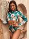 Women Plant Print Zip Back Long Sleeve High Waisted Bikinis Swimsuit - Green