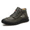 Menico Men Microfiber Leather Hand Stitching Casual Ankle Boots - Green