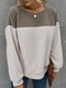 Contrast Color Patchwork Long Sleeve Casual Sweatshirt For Women - Coffee