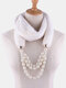 Bohemian Plush Imitation Pearl Necklace Autumn Winter Beaded Pendant Scarf Necklace - #02