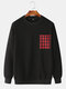 Mens Plain Solid Color Plaid O-neck Sweatshirts - Black