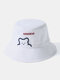 Unisex Cotton Bear Letter Pattern Embroidery Solid Color Cute Bucket Hat - White