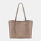 Women PU Leather Large Capacity Casual Brief Tote Shoulder Bag Handbag - Khaki