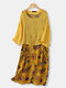 Vintage Floral Print Fake Two Pieces Plus Size Dress with Pocket - Yellow