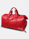 Casual Multi-Carry Faux Leather Large Capacity Travel Outdoor Luggage Handbag Crossbody Bag - Red