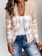 Vintage Printed Long Sleeve Casual Cardigan For Women - Apricot