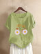 Daisy Flower Printed Letters Short Sleeve O-neck T-shirt - Green