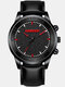 9 Colors Leather Alloy Men Business Watch Decorated Pointer Quartz Watch - Leather: Black Band Red Pointer