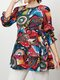 Abstract Pattern Print O-neck Puff Long Sleeve Casual Blouse - Red