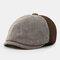 Men & Women Stitching British Retro Artist Temperament Short Brim Peak Top Hat Beret Flat Caps - Coffee