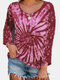 Casual Tie-dye Print O-neck Long Sleeve T-shirt - Wine Red