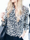Leopard Print Button Long Sleeve Casual Blouse For Women - Blue