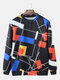 Mens Colorblock Line Print Relaxed Fit Daily Crew Neck Pullover Sweatshirt - Black