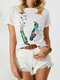 Feather Birds Print Short Sleeve O-neck Casual T-shirt For Women - White