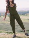 Casual Solid Corduroy Sleeveless Harem Jumpsuit For Women - Army Green