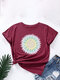 Calico Print Cotton O-neck Short Sleeve Casual T-Shirt For Women - Wine Red