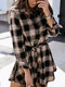 Plaid Long Sleeve Lapel Collar Knotted Mini Dress For Women - Beige