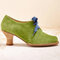 Women Solid Color Lace Up Front Profiled Heel Pumps - Green
