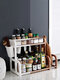 Kitchen Shelf Double-layer Spice Rack With Five-grid Seasoning Box Multi-function Rack With Cutting Board Rack And Knife Rack - #10