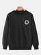 Mens Cotton Daily Relaxed Fit Crew Neck Solid Color Sweatshirts With Smile Pattern - Black