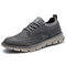 Men Breathable Lace-up Round Toe Non Slip Casaul Business Shoes - Gray