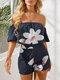 Floral Print Off-shoulder Short Sleeve Casual Romper for Women - Blue