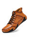 Men Hand Stitching Microfiber Leather Non Slip Soft Casual Ankle Boots - Brown