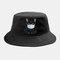 Cute Cat Isolated Hat Cotton Quarantined Bucket Cap  - Black
