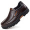 Men Cow Leather Waterproof Comfy Non Slip Soft Slip On Casual Shoes - Brown