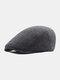 Men Plaid Pattern Adjustable Casual Flat Hat Forward Hat Beret Hat - Gray