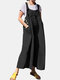 Casual Solid Color Side Pockets Buttons Sleeveless Jumpsuits - Black