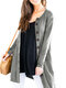 Causal Solid Color Long Sleeve O-neck Plus Size Button Cardigan for Women - Grey