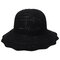 Womens Foldable Hollow Solid Bucket Cap Wild Breathable Outdoor Travel Sun Straw Hat - Black