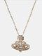 Luxury Full Diamond Shiny Saturn Women Necklace Crystal Pearl Saturn Pendant Necklace - #05