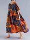 Винтаж Этнический принт с завышенной талией и половинным рукавом Plus Размер макси Платье