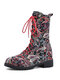 Embroidered Printing Sunflowers Block Heel Round Toe Lace-up Mid-calf Combat Boots for Women - Black