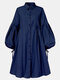 Solid Color Button Puff Sleeve Mid-length Casual Dress for Women - Navy